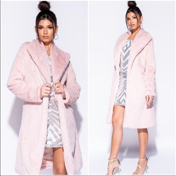 16ffcdea2 Jackets & Coats | Hpsoft Pink Longline Faux Fur Coat | Poshmark